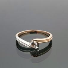 Balto ir raudono aukso žiedas dekoruotas cirkonio akute