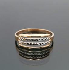 Auksinis žiedas su balto aukso detalėmis