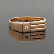 Vyriškas auksinis žiedas su cirkonio akute